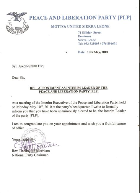 appointment letter in letter of appointment jpas exle