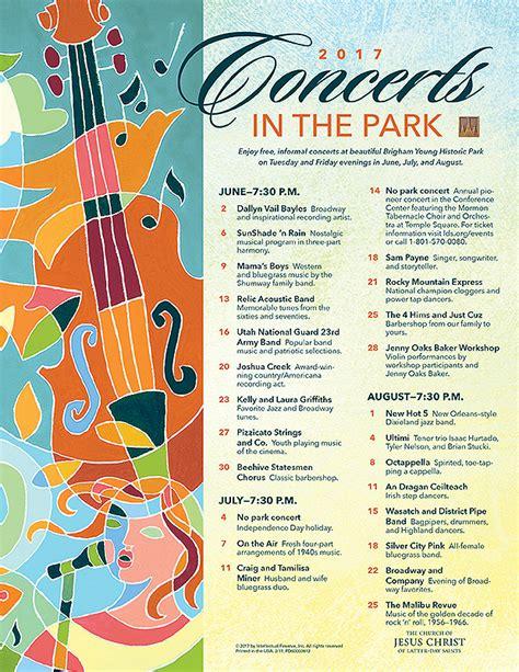 temple square lights 2017 schedule 2017 summer concerts brigham historic park temple