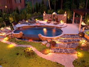 Natural Backyard Landscaping The Luxurious Landscape Lighting Ideas Around Pool Home