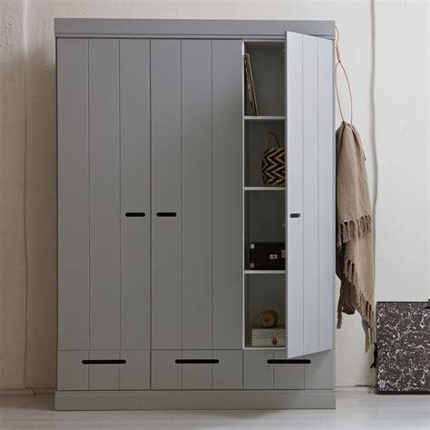 grey connect contemporary 3 door wardrobe with storage