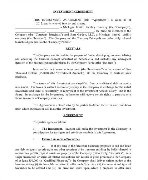 business investment agreement 12 business investment agreements sle templates