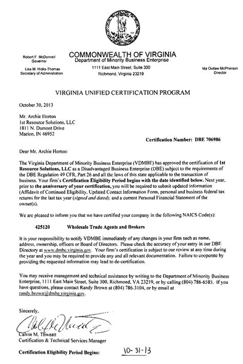 va certification letter dbe sbe hub certificates disadvantaged business