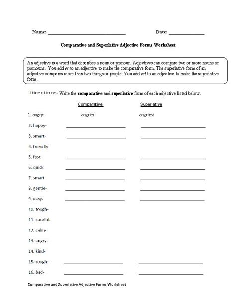 comparative and superlative worksheets with pictures comparative and superlative adjective forms worksheet englishlinx board