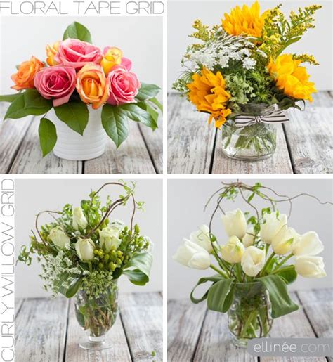 simple flower arrangements easy diy flower arrangement using tape and curly willow