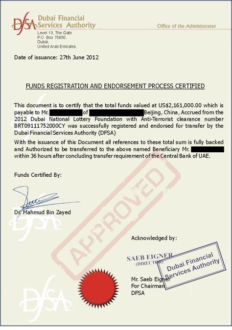 Guarantee Letter Dubai false dfsa documents used to promote a fraudulent scam dfsa