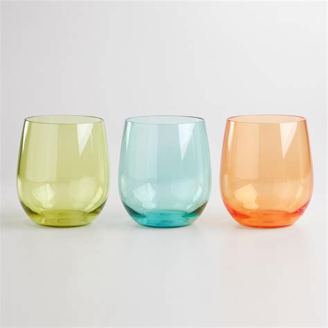 colored stemless wine glasses colored acrylic stemless tumblers set of 3 gt gt