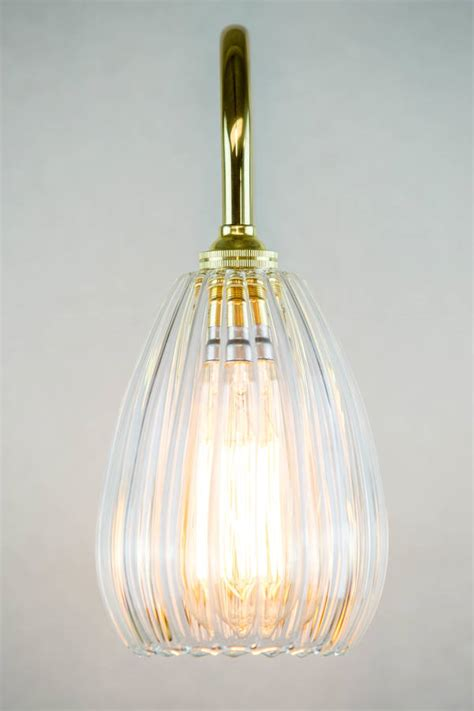 Handmade Glass Lighting - handmade ribbed glass wall light by glow lighting