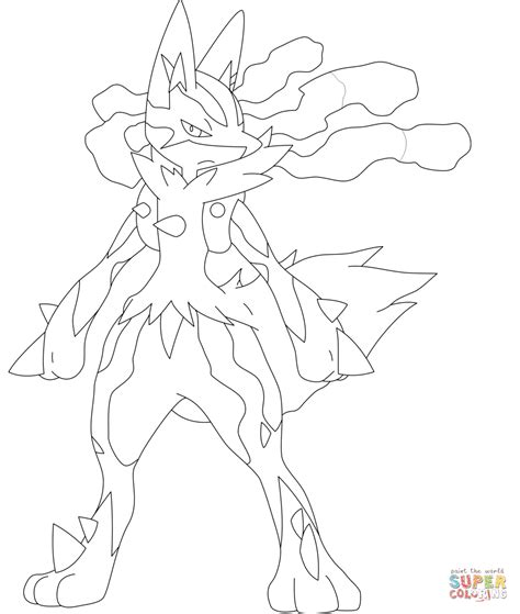 pokemon coloring pages of mega lucario mega lucario coloring page free printable coloring pages