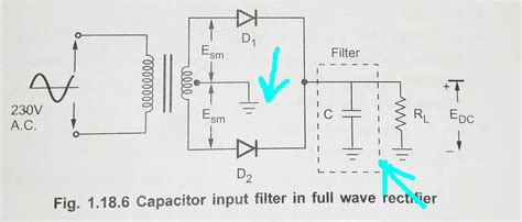circuit diagram of wave rectifier with capacitor filter