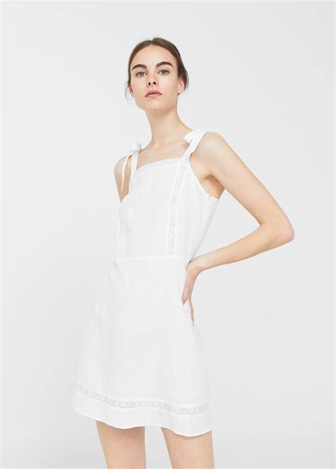 Manggo Dress bow linen dress mango usa