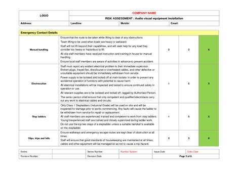 Audio Visual Installation Risk Assessment Example To Download