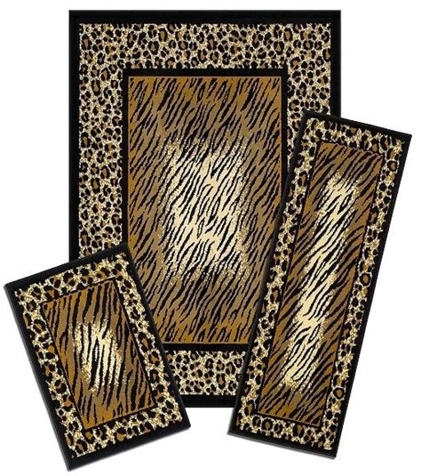 animal print accent rugs modern geometric accent mat runner area rug 3 piece set