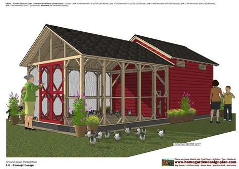 cb combo chicken coop garden shed plans