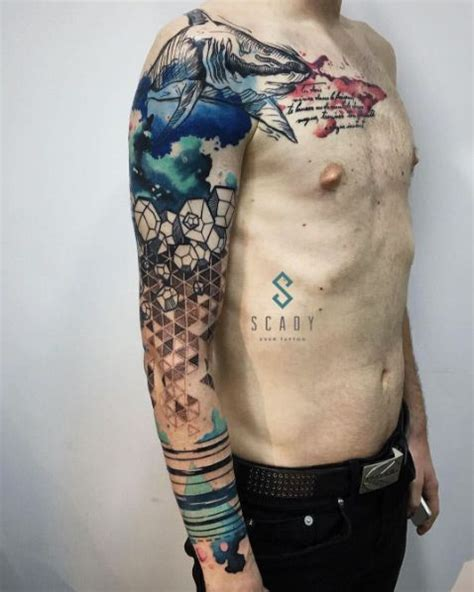 quarter sleeve watercolor tattoo 60 amazing sleeve tattoos for men women abstract