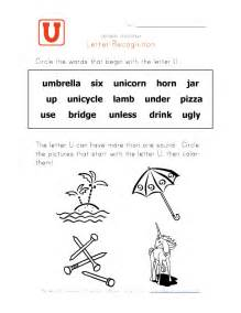 letter u words alphabet recognition page learning