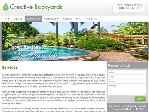 creative backyards pool building web design website design for pool builder