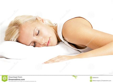 Sleeping On Two Pillows by Light Hair Model Sleeping On The Pillow Stock Photo Image 39858434