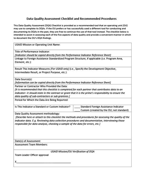 data quality assessment checklist project starter usaid