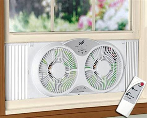 window fan with remote portable twin 9 quot reversible window fan with remote control