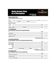 daily action planner template 5 free pdf documents