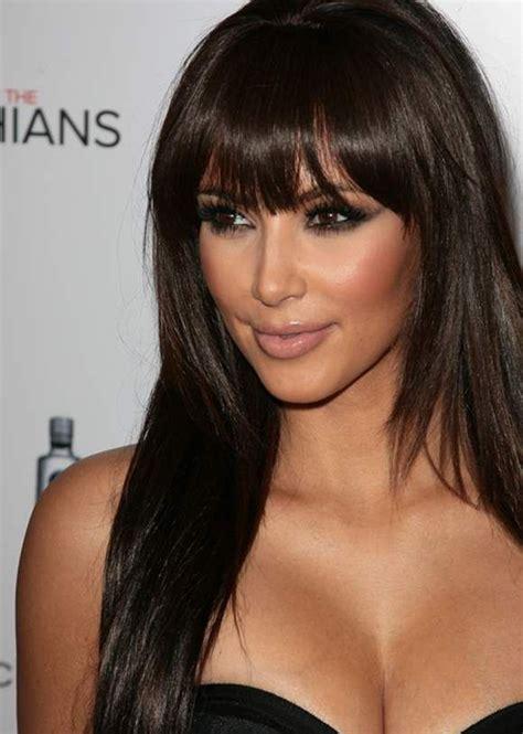 pinterest long bob hairstyles kim kardashian kim kardashian hairstyle long hair with bangs beauty