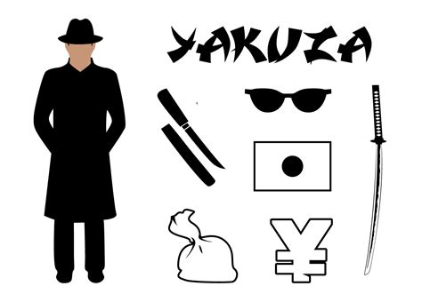 yakuza tattoo vector free download vector set yakuza symbols associated japan download free
