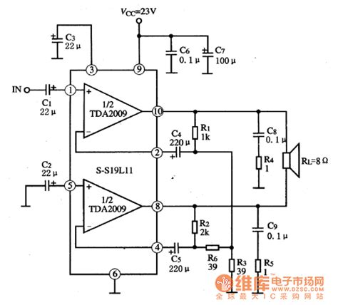 integrated circuit power lifier tda2009 the integrated circuit of dual audio power lifiers lifier circuit circuit