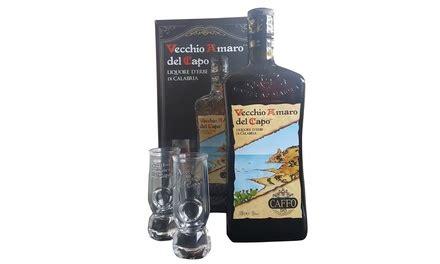 bicchieri amaro capo 1 o 2 bottiglie di vecchio amaro capo e 2 o 4
