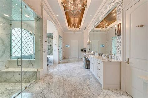 Delightful Mediterranean Mirrors For Bathrooms #5: Bathroom-gold-barrel-ceiling-arched-tub-nook-his-and-hers-walk-in-showers.jpg