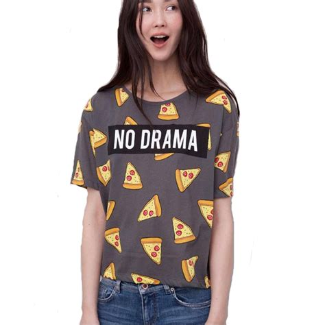 Tshirt No Drama April Merch pizza letters print t shirt cake no drama tops sleeve shirts casual camisas