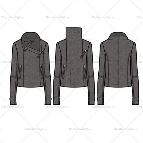 pattern leather illustrator wide turtleneck collar asymmetrical moto jacket with rib