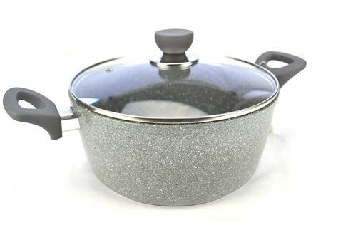 Pan Bolde Wok Pan 24 Cm Granite Coating Free new grey marble coated cookware set 8 non stick induction frypan ebay
