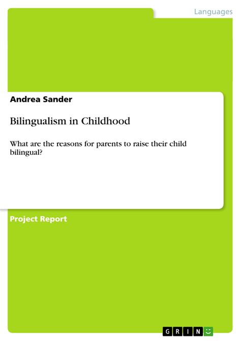 Bilingual Childhood Essay by Bilingualism In Childhood Publish Your Master S Thesis