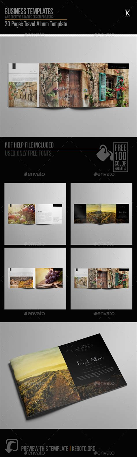 20 Pages Travel Album Template By Keboto Graphicriver Travel Album Template