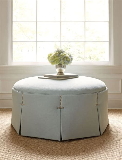 round tufted ottoman with skirt pleated tufted round ottoman ailanthus ltd its all in the