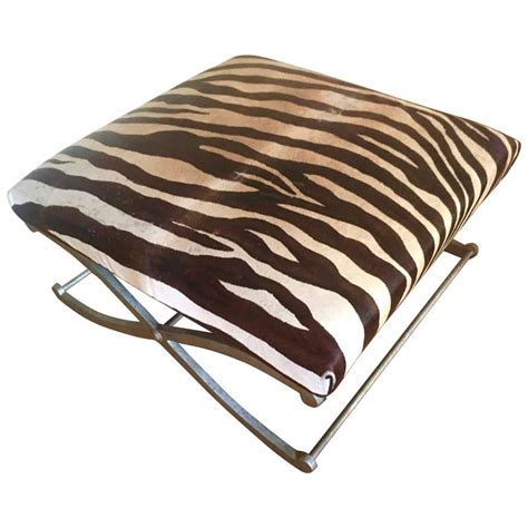 zebra hide bench zebra hide quot x quot frame bench ottoman for sale at 1stdibs