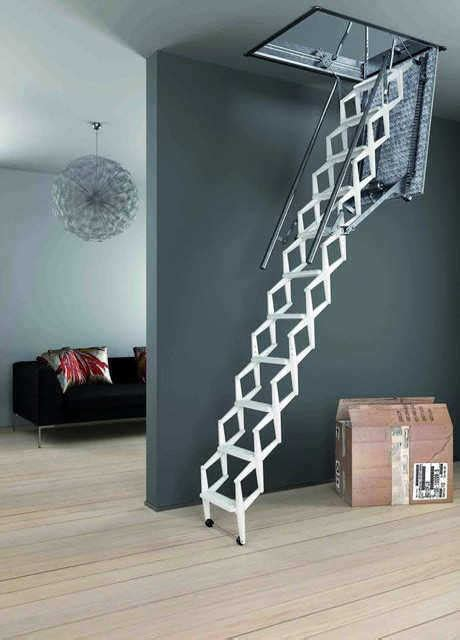 botola soffitta scale retrattili con pacco gradini a pantografo in accaio