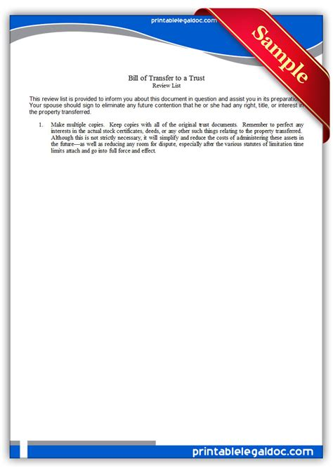 Transfer Of Utilities Letter Free Printable Bill Of Transfer To A Trust Form Generic