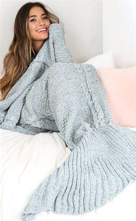 Mermaid Blanket Grey by Blue Grey Mermaid Blanket Crystalline