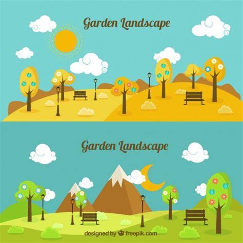 giardino paesaggistico giorno e notte giardino paesaggistico scaricare vettori