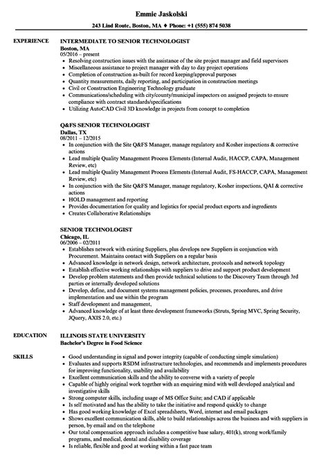 dorable food technologist resume format ideas exle