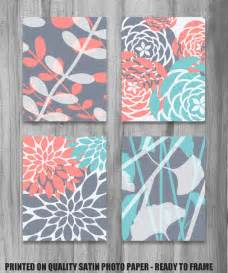 Salmon Colored Curtains Designs Coral Turquoise Gray Print Set Modern Vintage Floral