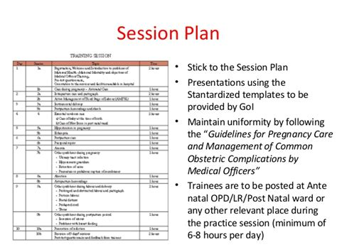 exercise session plan template introduction to guidelines session plans