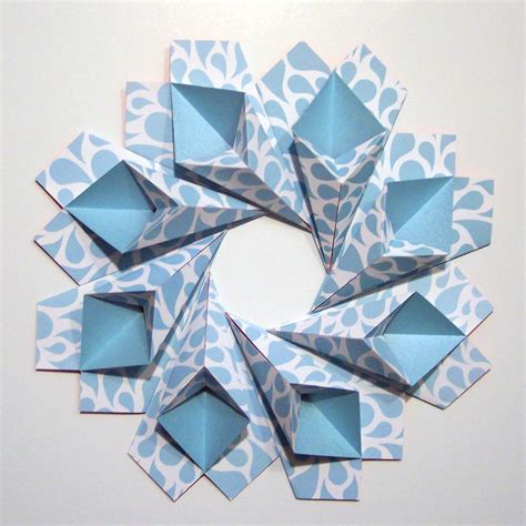 Modular Origami Wreath - blue teardrop origami wreath original modular origami
