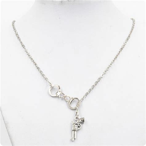 ancient silver handcuff gun pendant necklace charms gift