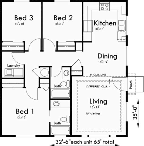 3 bedroom house plans one story one story duplex house plans ranch duplex house plans 3 bedroom