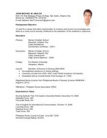 Job Resume Philippines by Curriculum Vitae Curriculum Vitae Sample Ghana