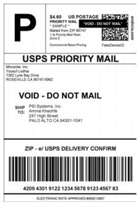 Domestic Mail Usps Priority Label Template