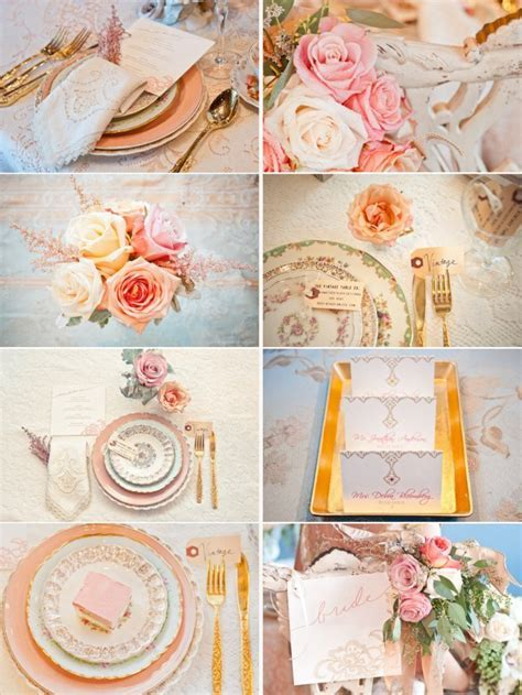 Peach, Gold   Cream Wedding Color Inspiration   OneWed