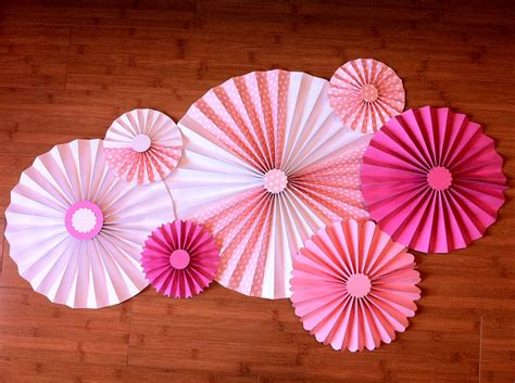 Paper Rosettes - set of 7 large diy paper rosettes fans pretty in pink